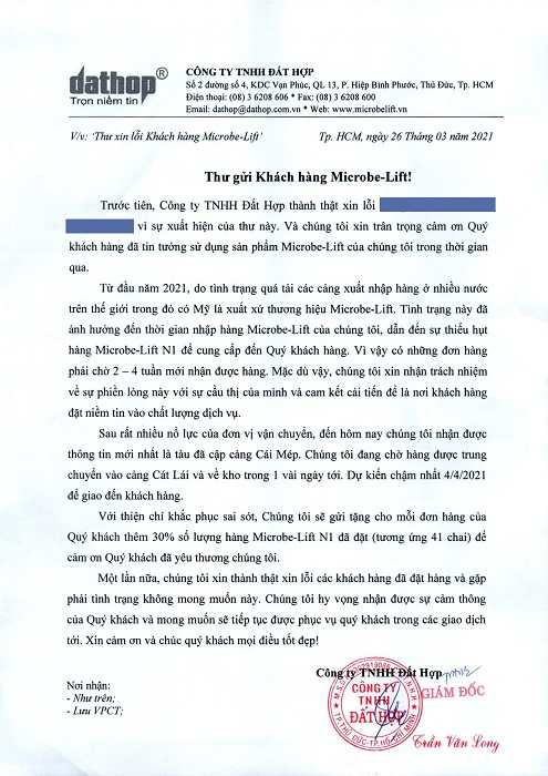 Thu gui khach hang Microbe-Lift